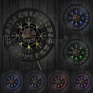 Aegishjalmr Helm of Awe Vinyl Record Clock - Heathen Roots
