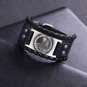 Genuine Leather Braided Mjolnir bracelet - Heathen Roots
