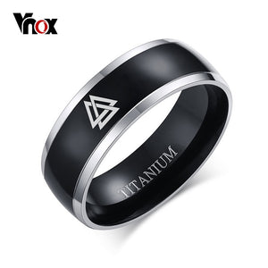 BLACK TITANIUM VALKNUT RING - Heathen Roots