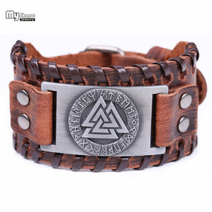 Valknut Leather Bracelet - Heathen Roots