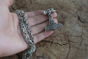 Runic covered mjolnir with heavy chain - Heathen Roots
