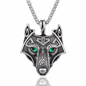 Norse Wolf Head Vikings Pendant Green Crystal Eyes - Heathen Roots