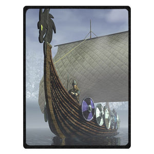 Soft Viking Ship Print Blanket - Heathen Roots