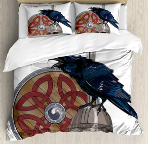 Raven on a Helmet Bedding Set - Heathen Roots
