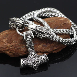 Dragon Head Mjolnir Necklace With Stainless Steel Chain - Heathen Roots