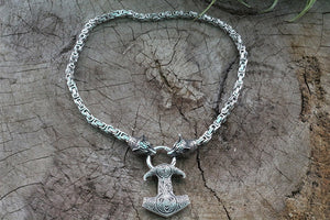 Fenris stainless steel Kings Chain Mjolnir necklace - Heathen Roots
