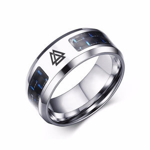 Laser Engraved Valknut Stainless Steel Carbon Fiber Ring - Heathen Roots