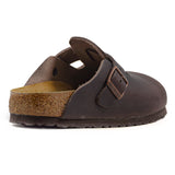 Birkenstock Donna Sabot Boston Marrone In Pelle Oliata