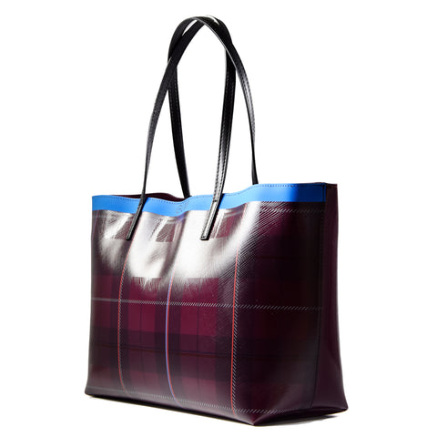 Borsa tartan gomma wine con linee colorate Gum Donna