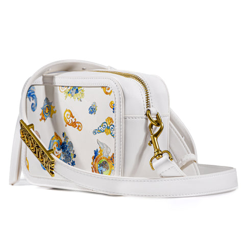 Borsa Versace Jeans Couture Bianco Stampe Fantasia Floreale