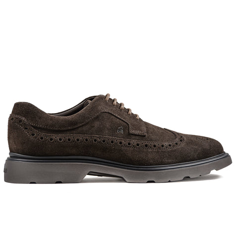 Stringata Hogan Uomo H393 Marrone Con Motivo Brogue