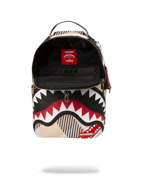 Zaino Sprayground Donna Uomo modello Shark in London Sharkburry in nylon e stampa Burberry