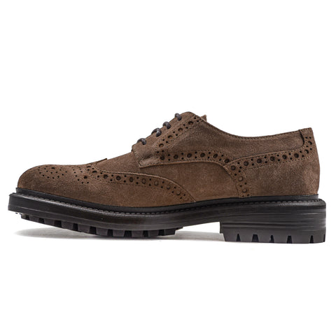 Stringata Uomo Kingston In Camoscio Beige Con Motivo Brogue