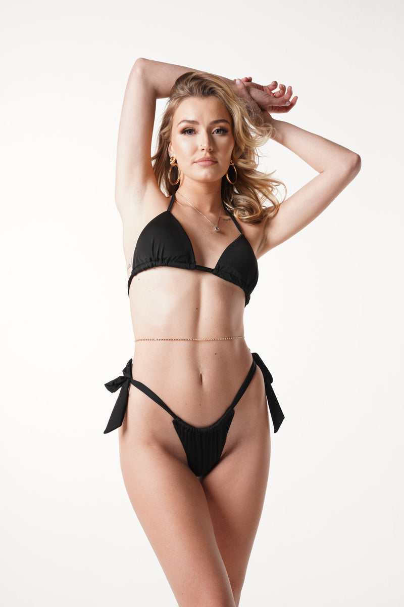 Black Side Tie Bikini Set