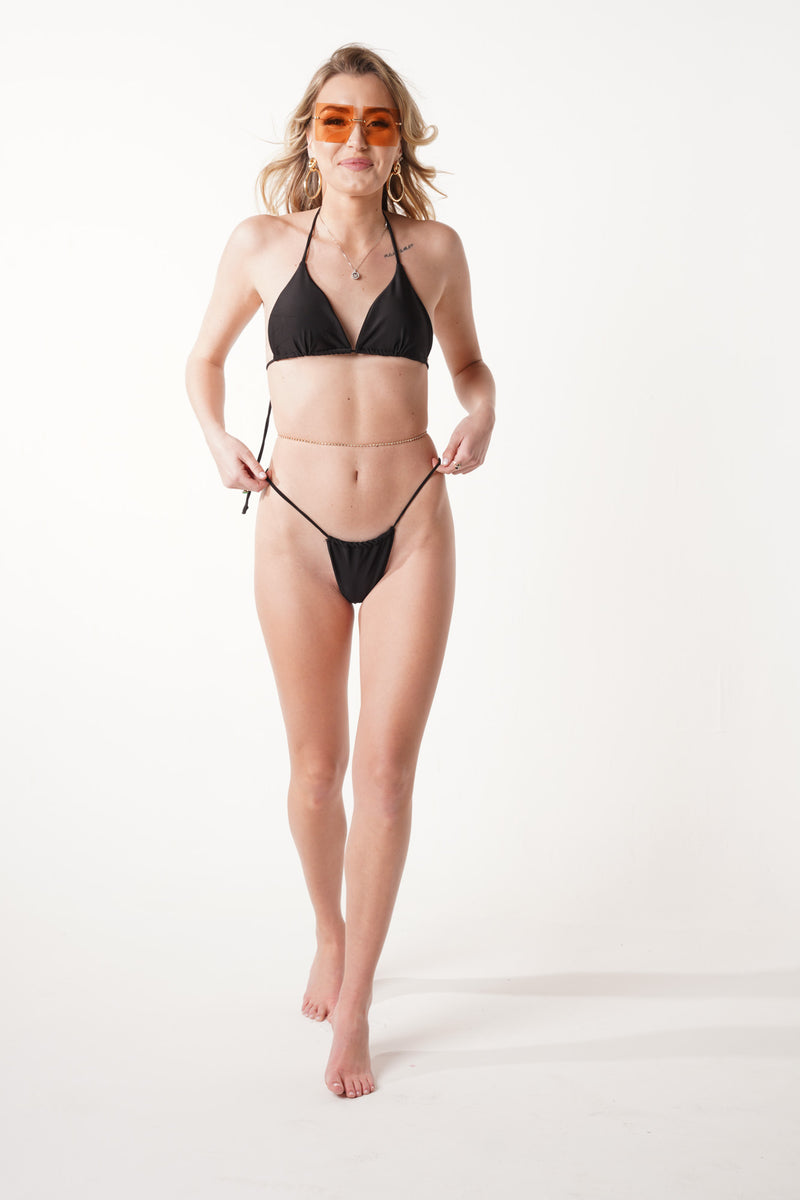 Barely There Black String Bikini Set