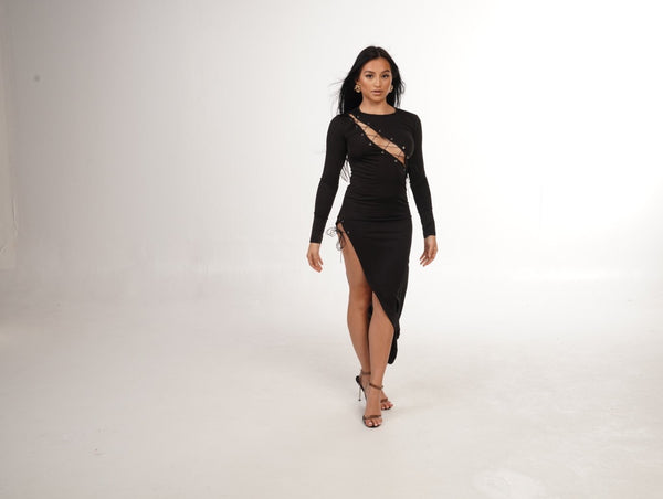 No strings attached high slit dress