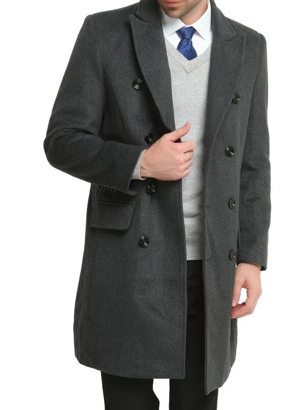 Avellino Double Button Wool Coat overcoats for men Gray XXL