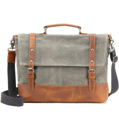 top goldman Belluno Canvas Leather Messenger Bag Army Green