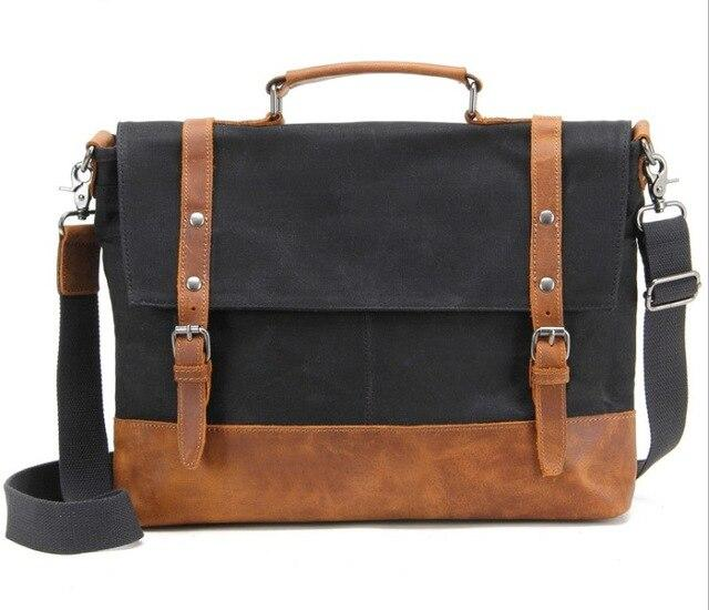 top goldman Belluno Canvas Leather Messenger Bag Black
