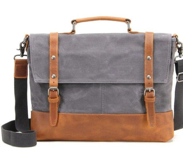 top goldman Belluno Canvas Leather Messenger Bag Gray