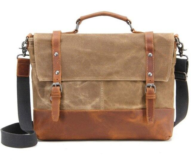top goldman Belluno Canvas Leather Messenger Bag Khaki