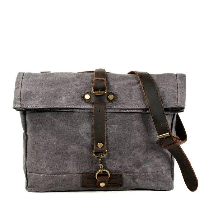 top goldman Bolsena Canvas Waterproof Messenger Bag Dark Grey