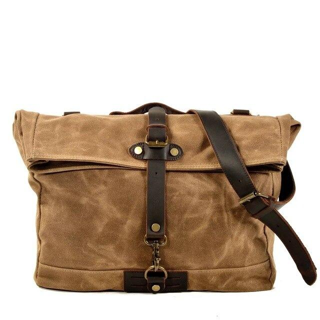 top goldman Bolsena Canvas Waterproof Messenger Bag Khaki