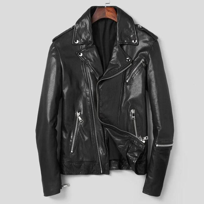 TOPGOLDMAN-Bronte Real Leather Jacket-biker jacket-black L