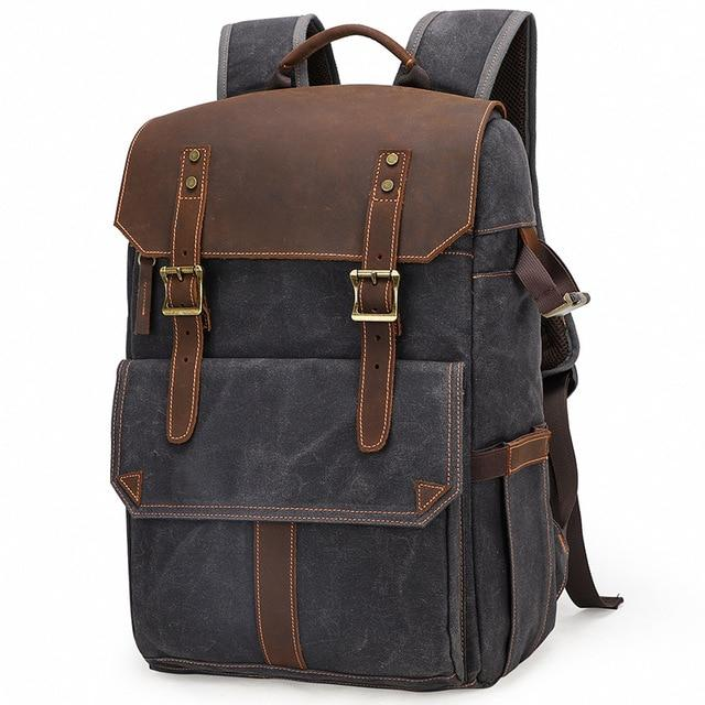 top goldman Canvas Waterproof Camera Backpack Dark Gray