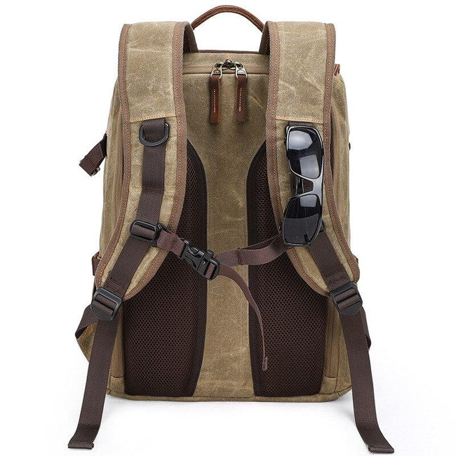 top goldman Canvas Waterproof Camera Backpack Khaki
