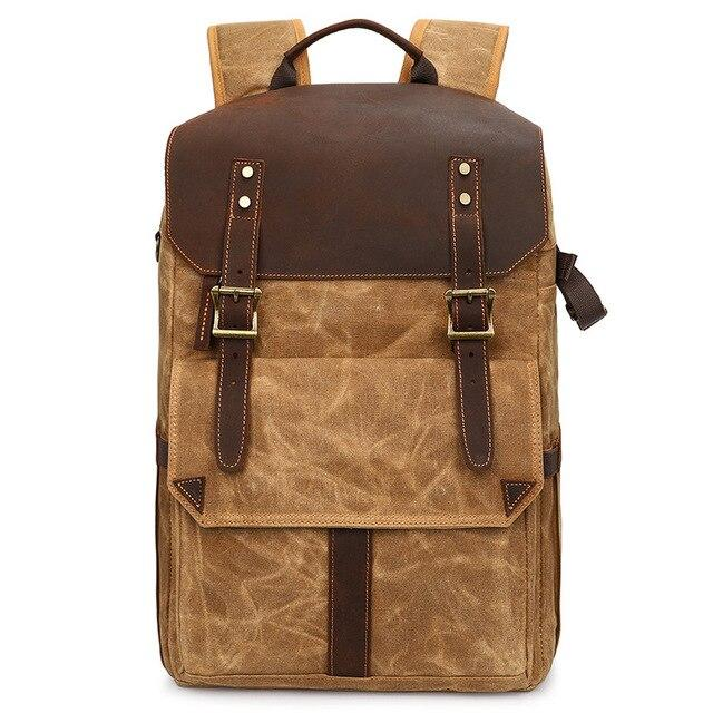 top goldman Canvas Waterproof Camera Backpack yellowish brown