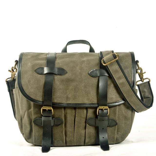 top goldman Canvas Waterproof Shoulder Camera Bag Army Green