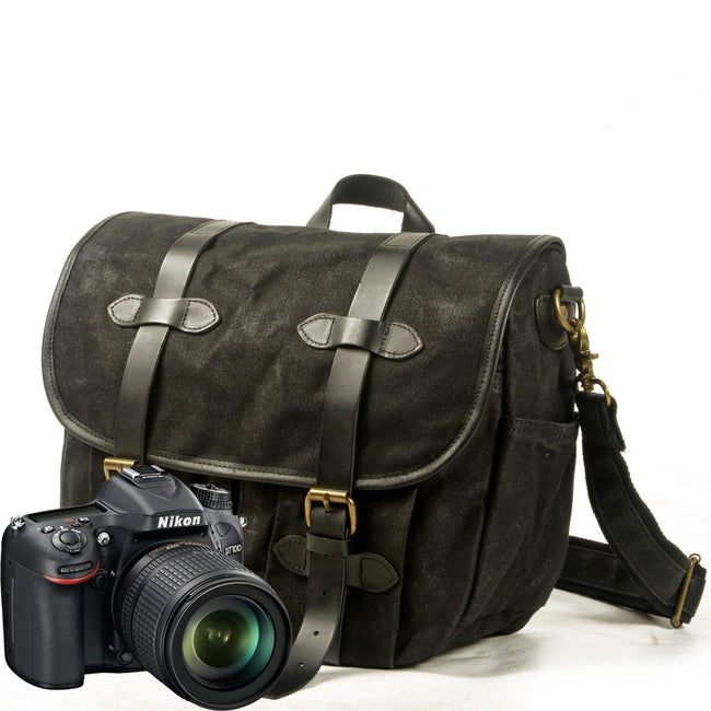 top goldman Canvas Waterproof Shoulder Camera Bag Black