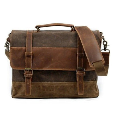 Ferentino Canvas Leather Waterproof Messenger Bag