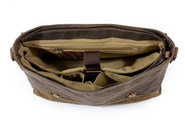 top goldman Ferentino Canvas Leather Waterproof Messenger Bag coffee