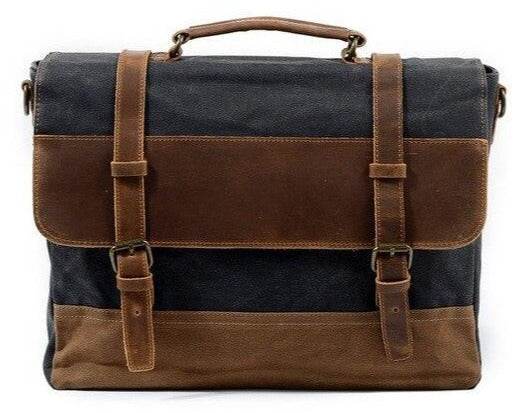 top goldman Ferentino Canvas Leather Waterproof Messenger Bag Dark Grey