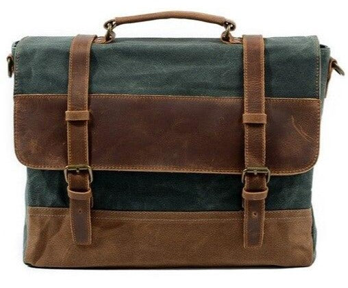 top goldman Ferentino Canvas Leather Waterproof Messenger Bag Lake Green