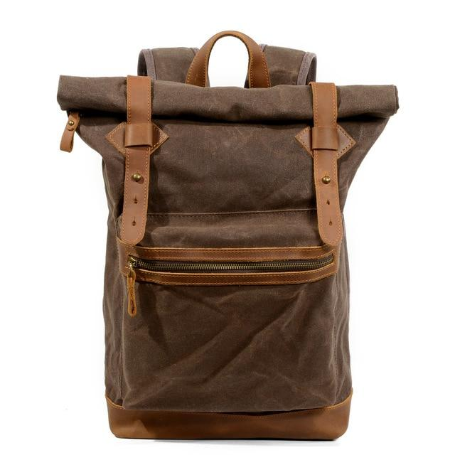 top goldman Ferentino Canvas Waterproof Travel Backpack coffee