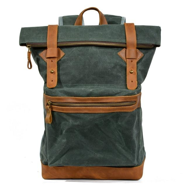 top goldman Ferentino Canvas Waterproof Travel Backpack Green lake