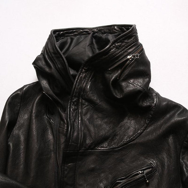 TOPGOLDMAN-Lazio Hooded Real Leather Jacket-biker jacket-Black M