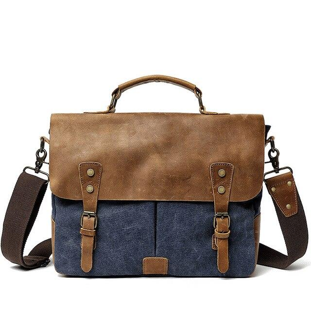 top goldman Lecco Canvas Messenger Bag Dark Blue