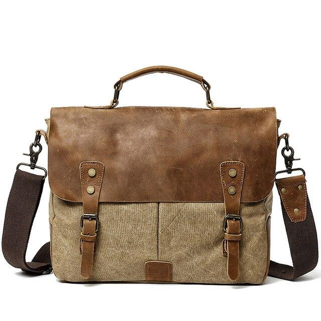 top goldman Lecco Canvas Messenger Bag Khaki