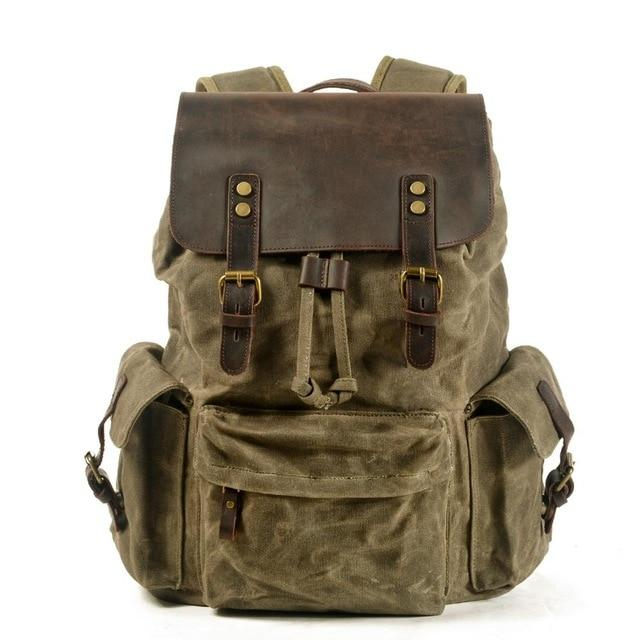 top goldman Loreto Canvas Leather Waterproof Backpacks Army green