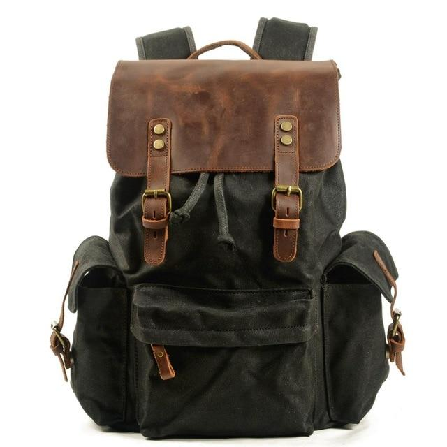 top goldman Loreto Canvas Leather Waterproof Backpacks Black