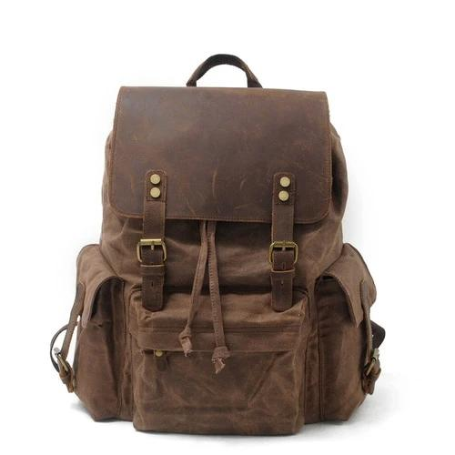 top goldman Loreto Canvas Leather Waterproof Backpacks Dark brown