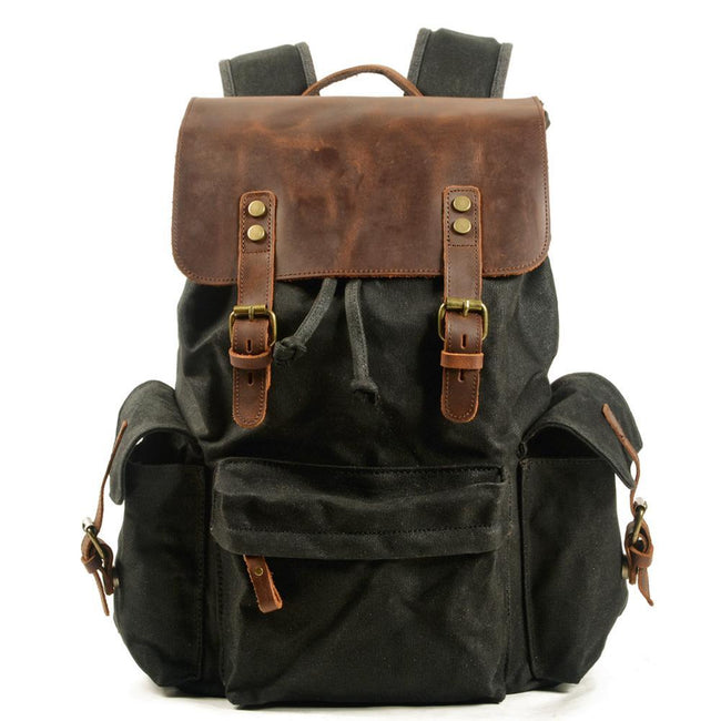 top goldman Loreto Canvas Leather Waterproof Backpacks Gray
