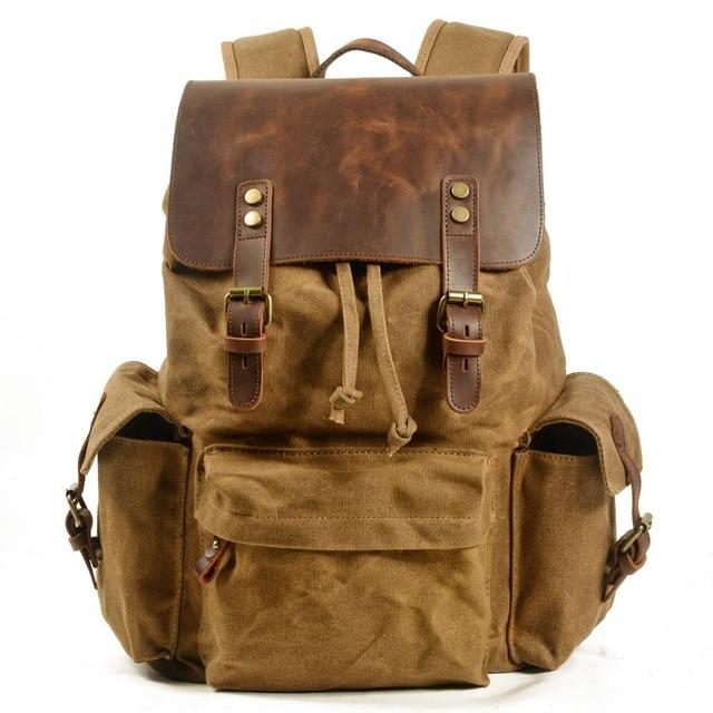 top goldman Loreto Canvas Leather Waterproof Backpacks Khaki