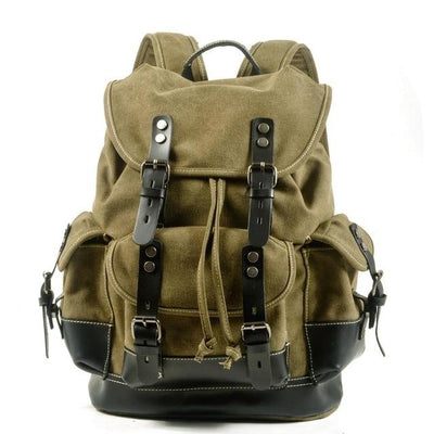 top goldman Loreto Canvas Waterproof Travel Backpack Army Green