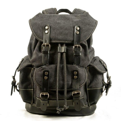 top goldman Loreto Canvas Waterproof Travel Backpack Dark Grey