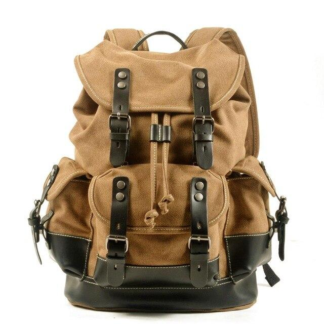 top goldman Loreto Canvas Waterproof Travel Backpack Dark Khaki